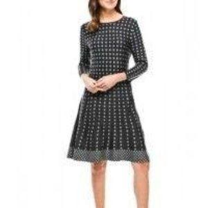 SPENSE White Polka Dot Gray Long Sleeve Dress L/G